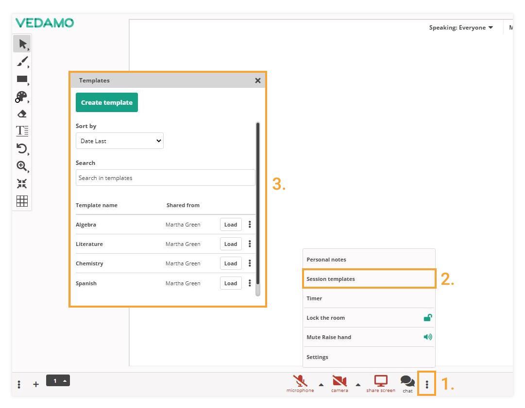 Virtual Classroom Templates: Create a template