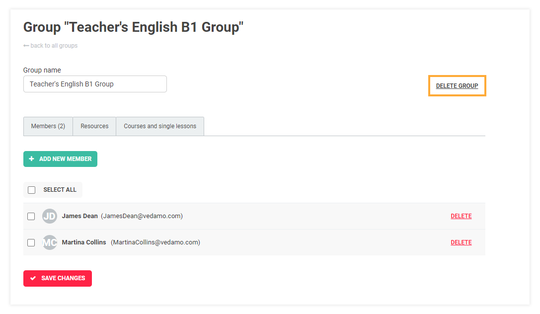 LMS User Groups: Once you have deleted a group, restoring it is no longer possible.