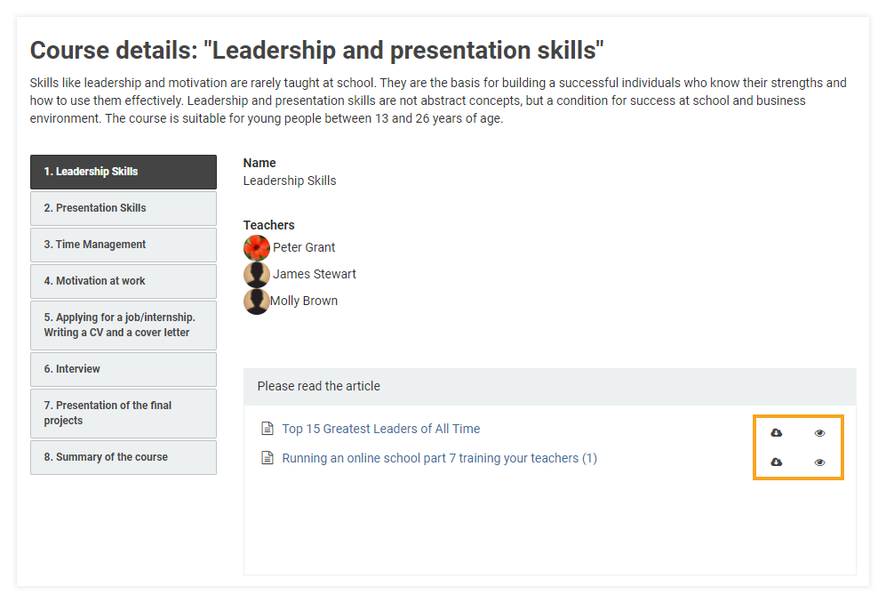 How do I attach learning materials to my LMS course: participants can use the preview and download options