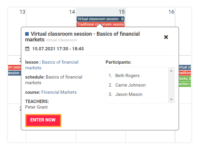 LMS Dashboard: You can enter a Virtual session directly from your LMS Dashboard (teacher's point of view)