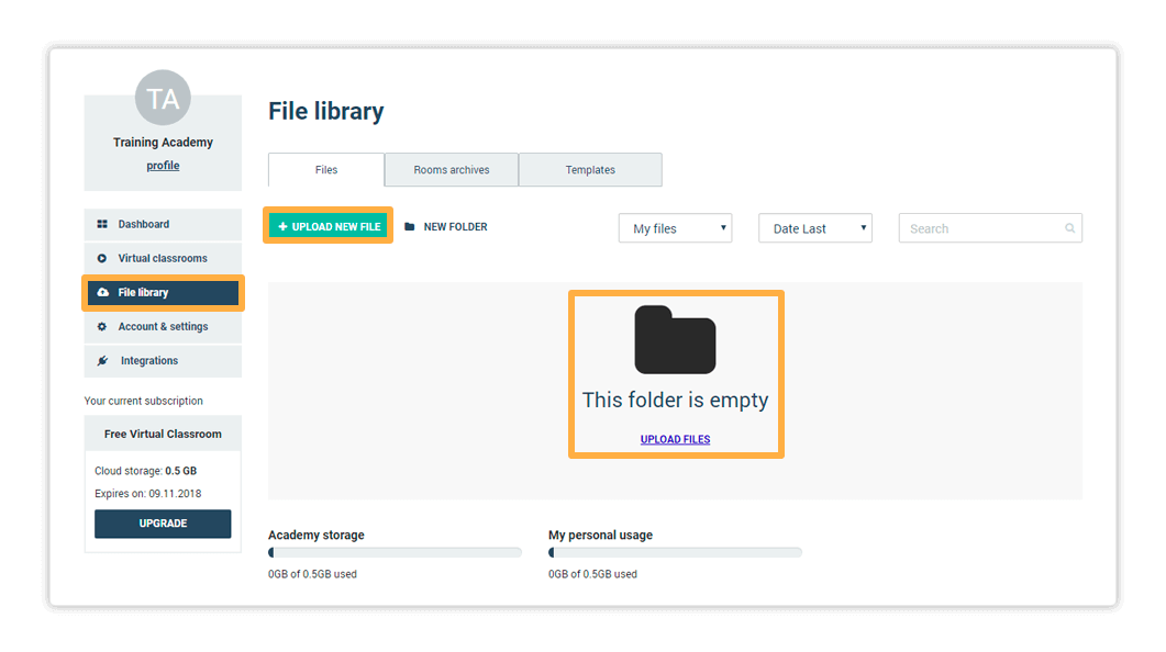 Use the Upload New File button or Drag and Drop files to upload files in the Virtual Classroom File Library