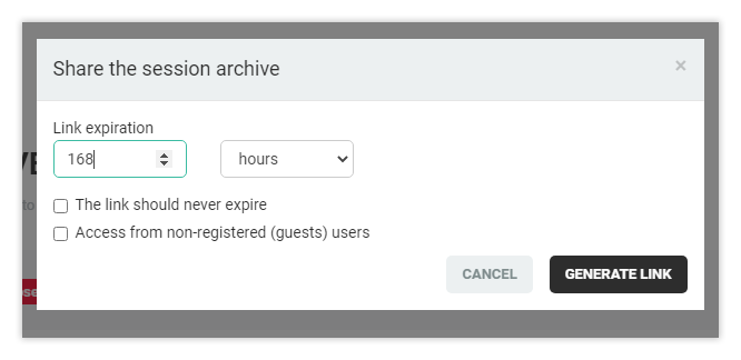 Interactive recordings: Generate archive link screen