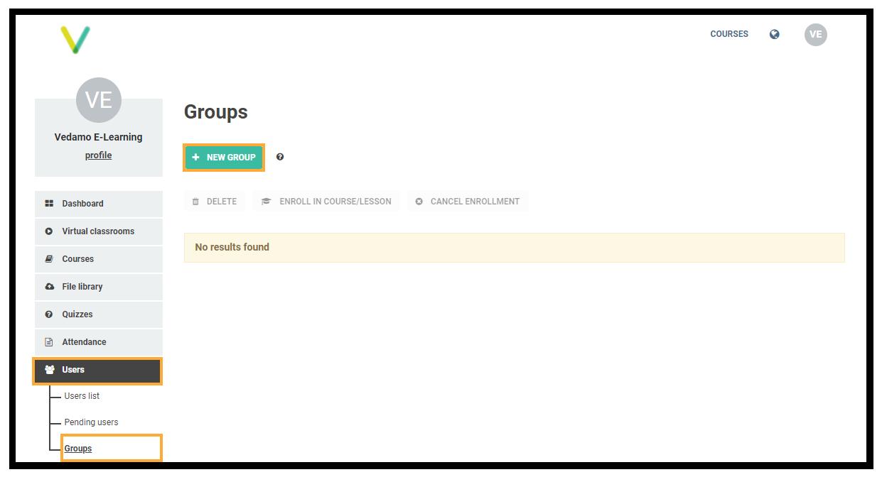 LMS User Groups: LMS User Groups menu location