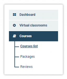Courses list menu