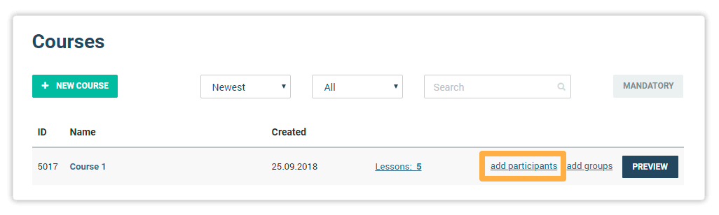 Add participants to a course button