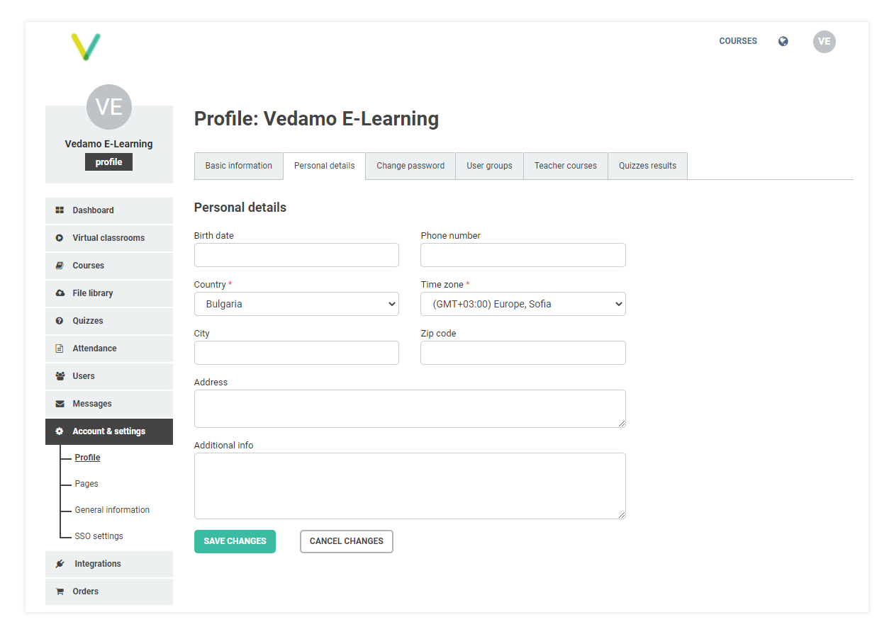 Specifying additional details like birth date, city, telephone and address in the lms account and settings page is optional