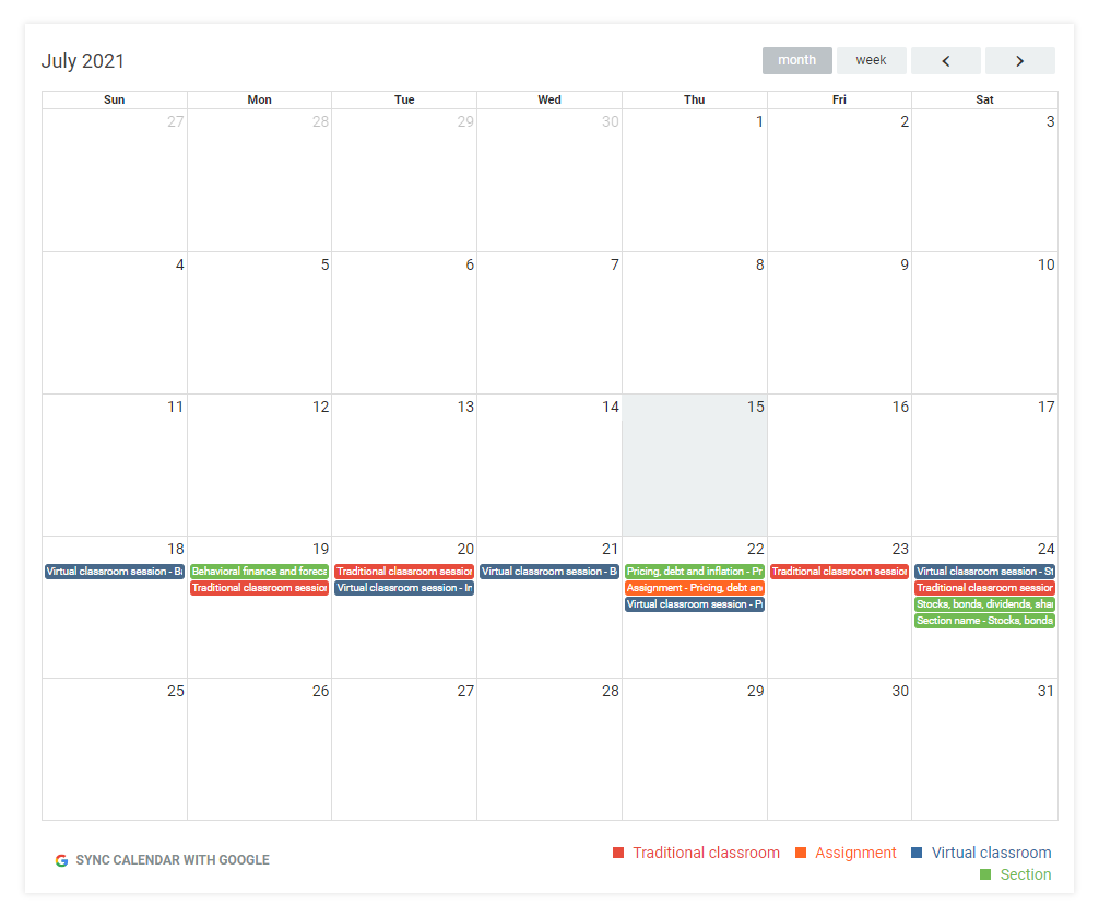 LMS Dashboard: The Calendar is the most integral part of your LMS Dashboard