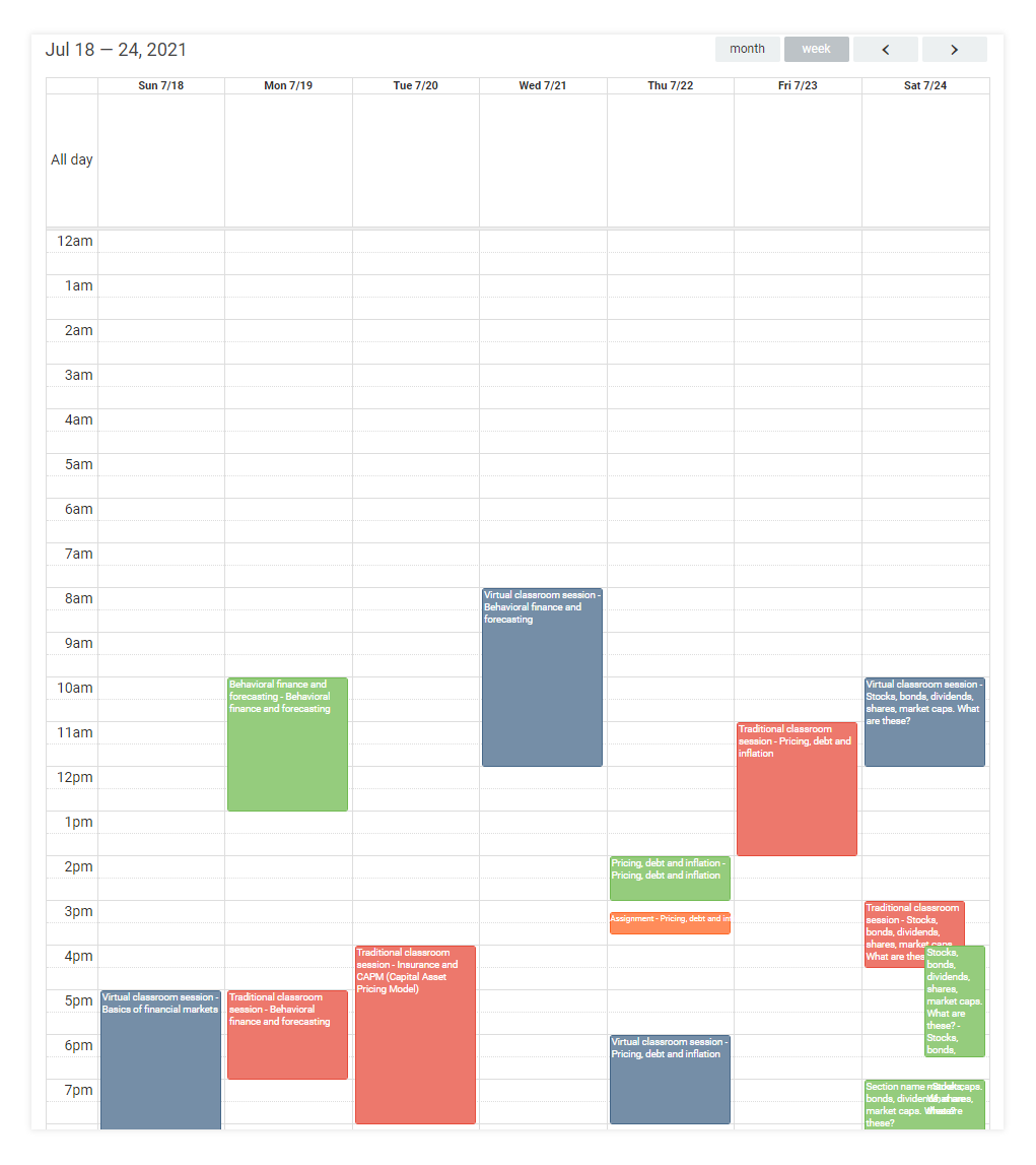 LMS Dashboard: Weekly Calendar view of upcoming events