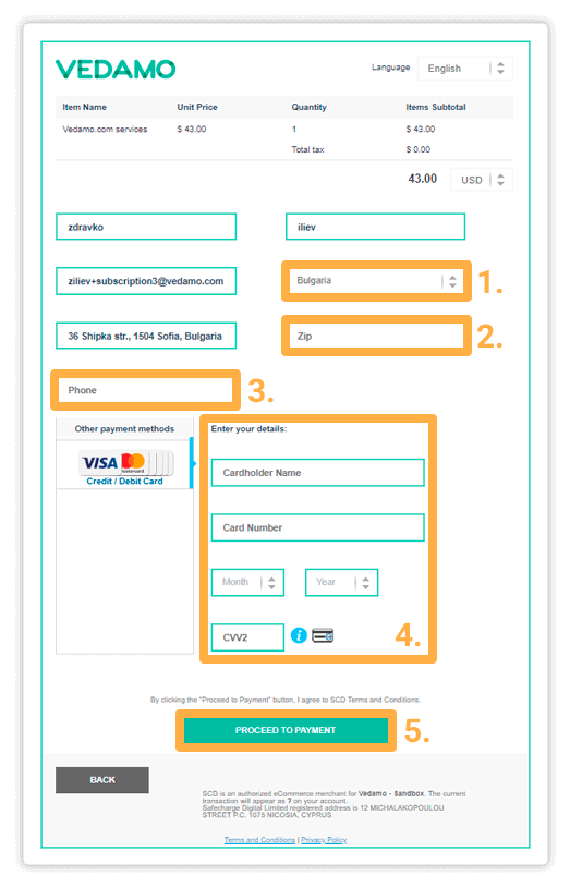 Fill in your details in the Payment page in order to continue