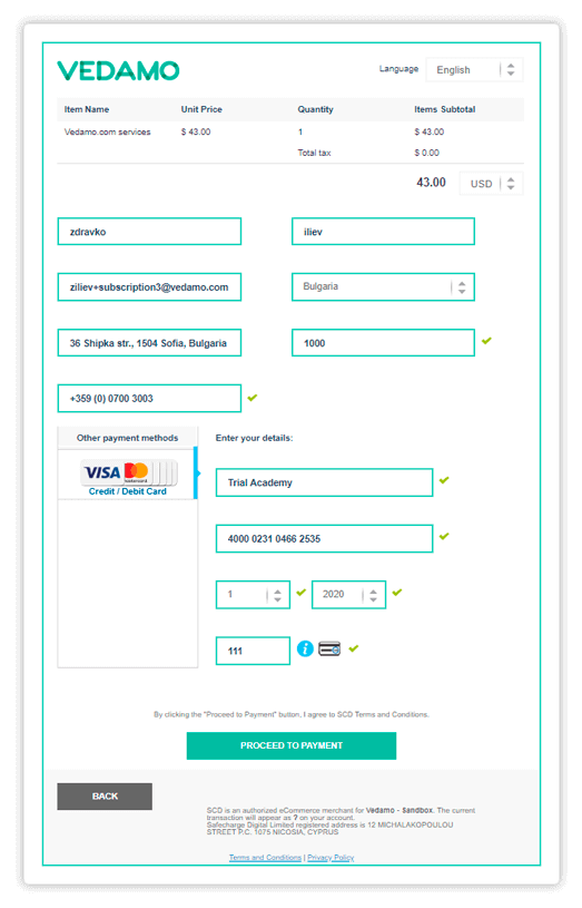 Click Proceed to Payment to proceed further with the purchase