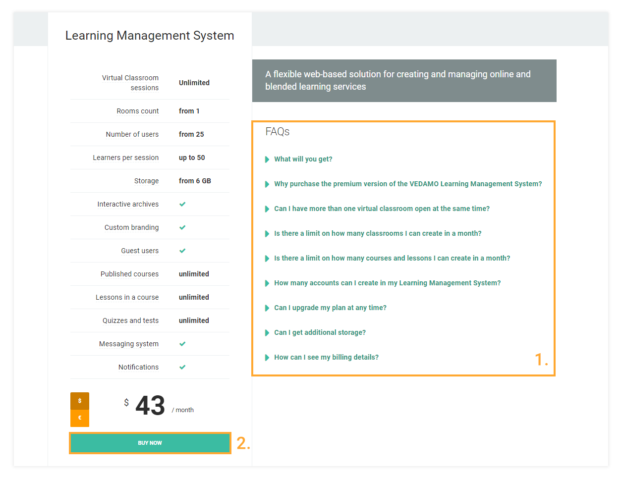 Press Select to Buy now for Vedamo's Premium Learning Management Sytem plan