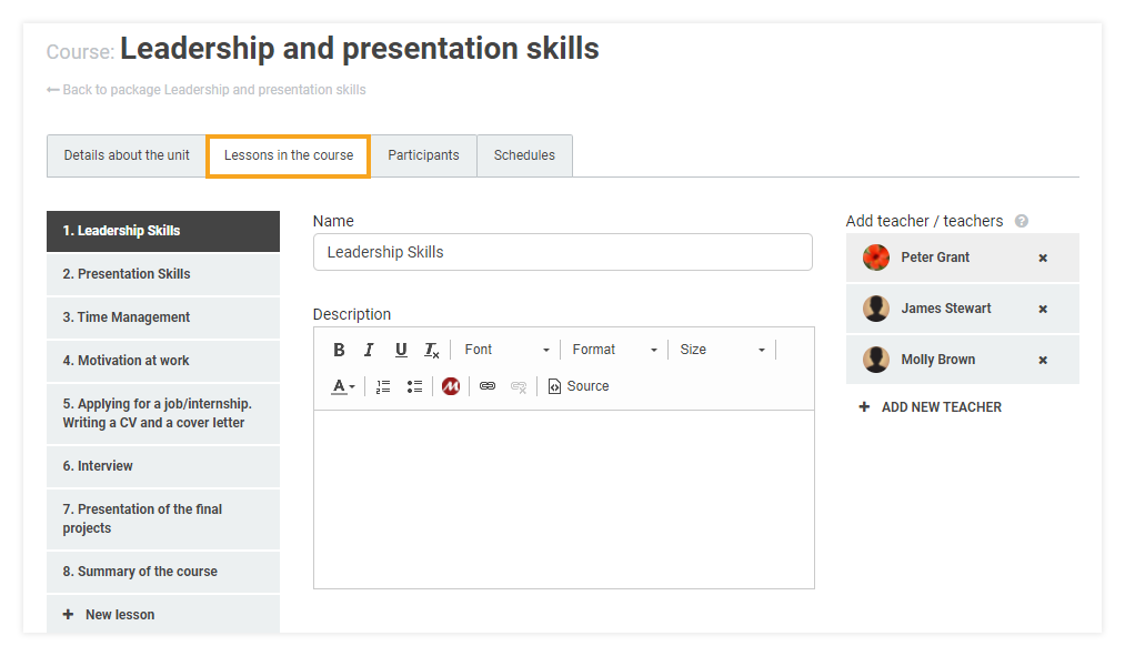 How do I attach learning materials to my LMS course: lessons in the course tab