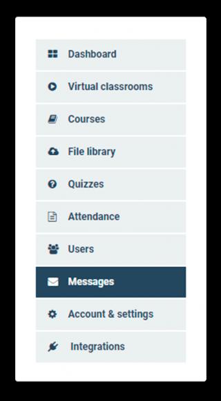 LMS Messaging System menu