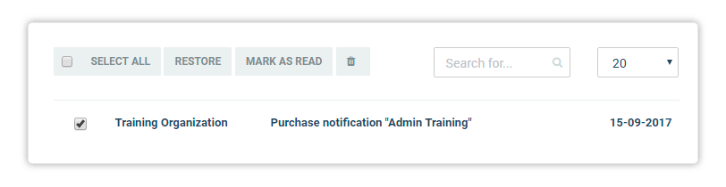 Purchase notification message