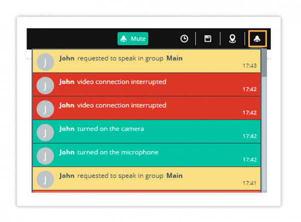 Notification log in the Virtual Classroom