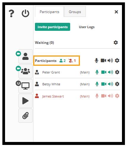 Participants counter in the Virtual classroom