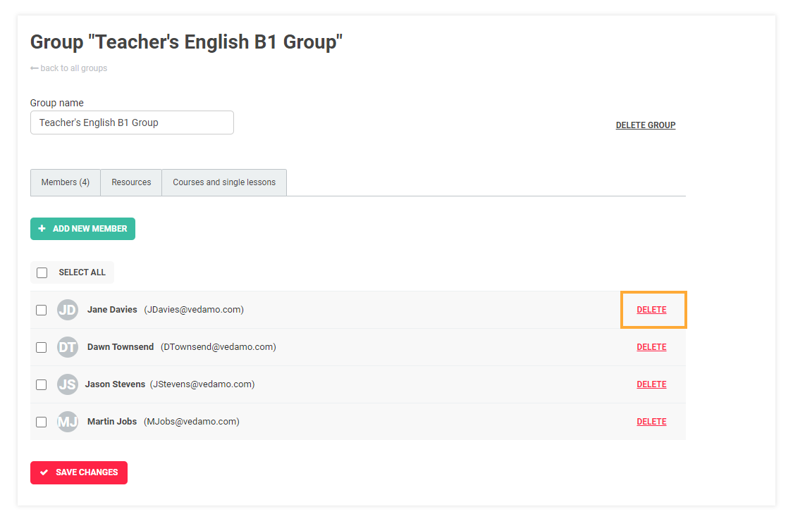 LMS User Groups: Remove participant from a group
