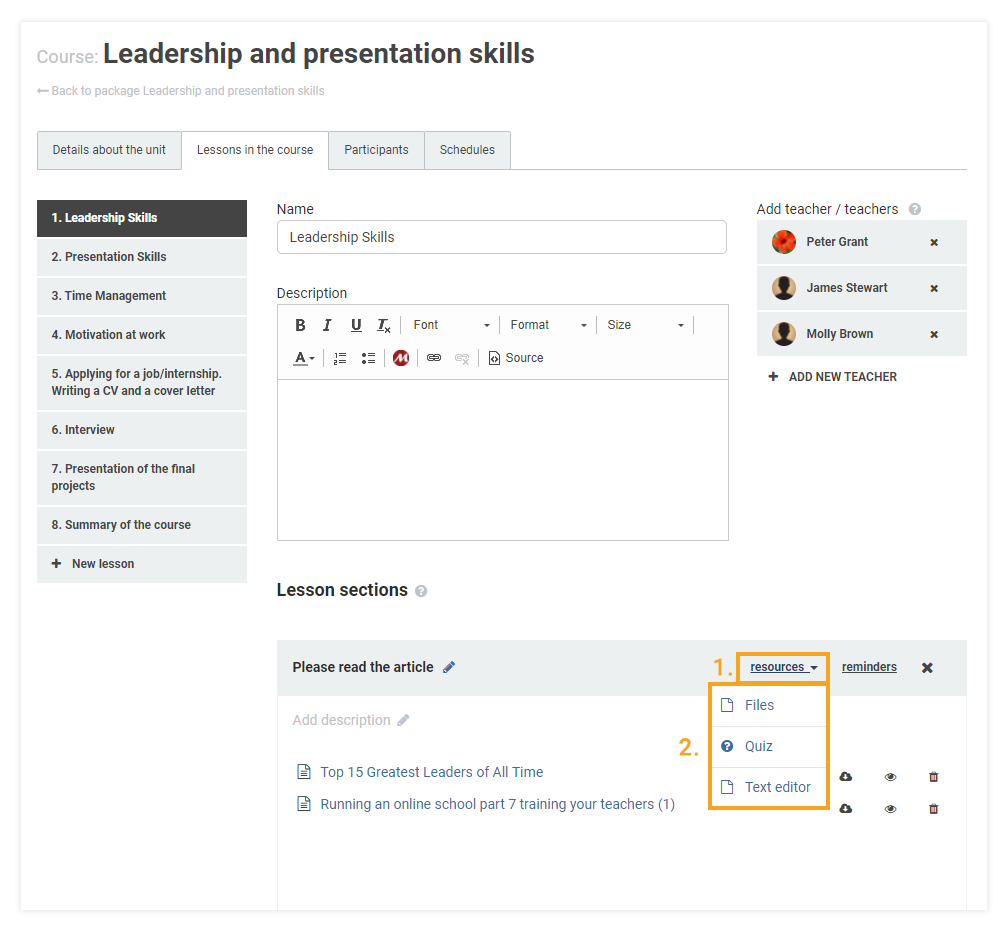 How do I attach learning materials to my LMS course: adding resources