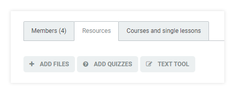 LMS User Groups: Resources tab within a group