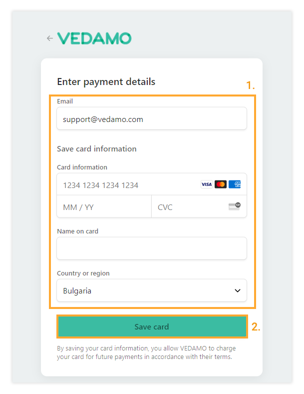 Adding and saving the Credit/Debit card