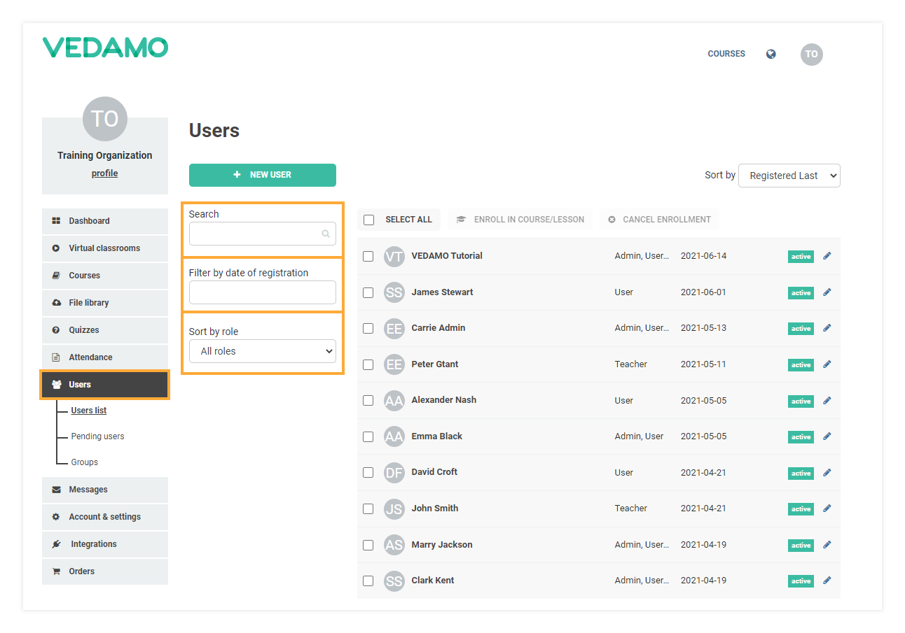 LMS Users administration: Search Filters