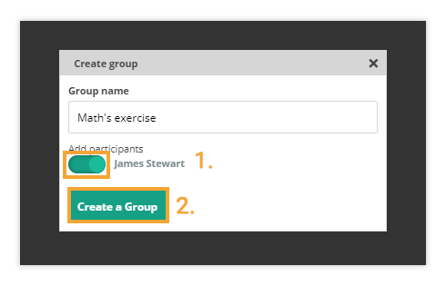 Move the slider and press create a group and add the user