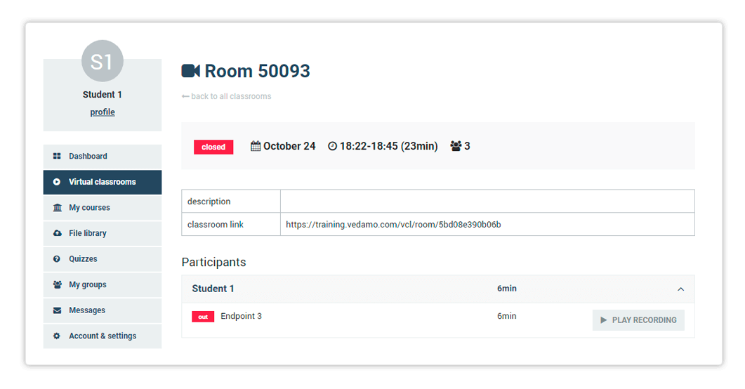 Stand-alone Virtual Classrooms in the LMS - Organisation and Administrator roles have the option to go back and review each archive