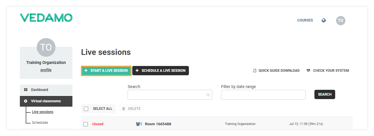 Stand-alone Virtual Classrooms in the LMS: Click Start a live session to open a Vedamo Stand-alone room