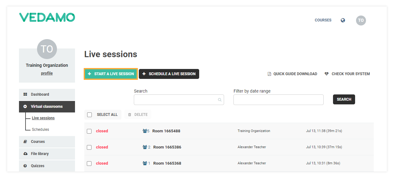 Stand-alone Virtual Classrooms in the LMS: To open a new stand-alone room click on Click Start a live session