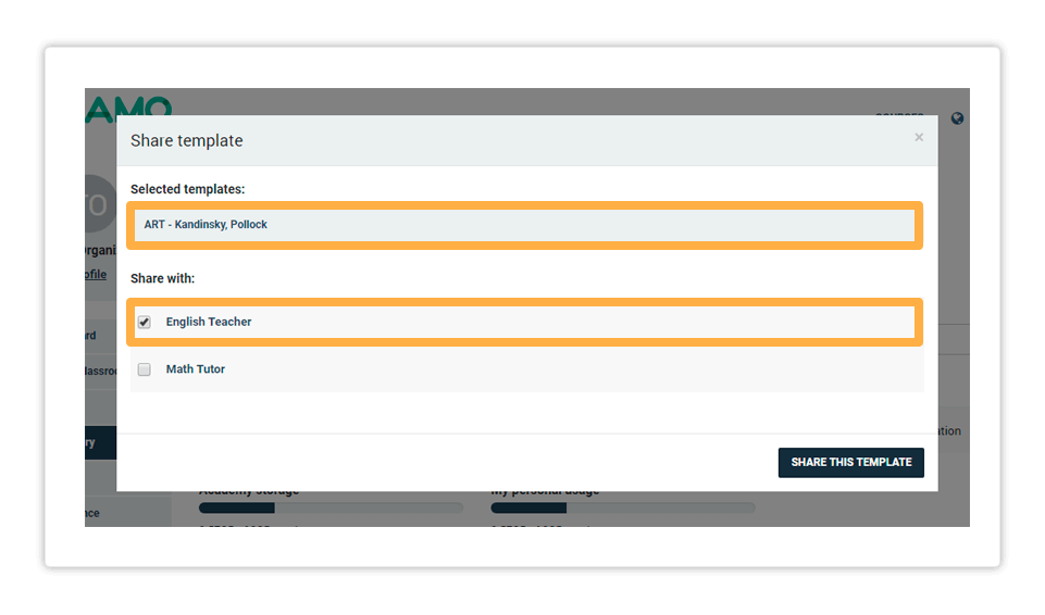 Templates management in the LMS - Share template