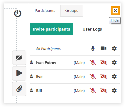 Participant Controls in the Virtual Classroom: Hide or show Participant list