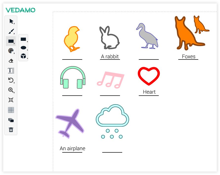 Virtual Classroom Online Whiteboard Tools: The shape library provides a number of pre-defined elements you may use during your lessons