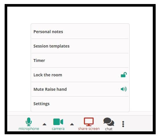 Virtual Classroom Functional Windows: The Functional Tabs in the virtual classroom located at the bottom of the screen