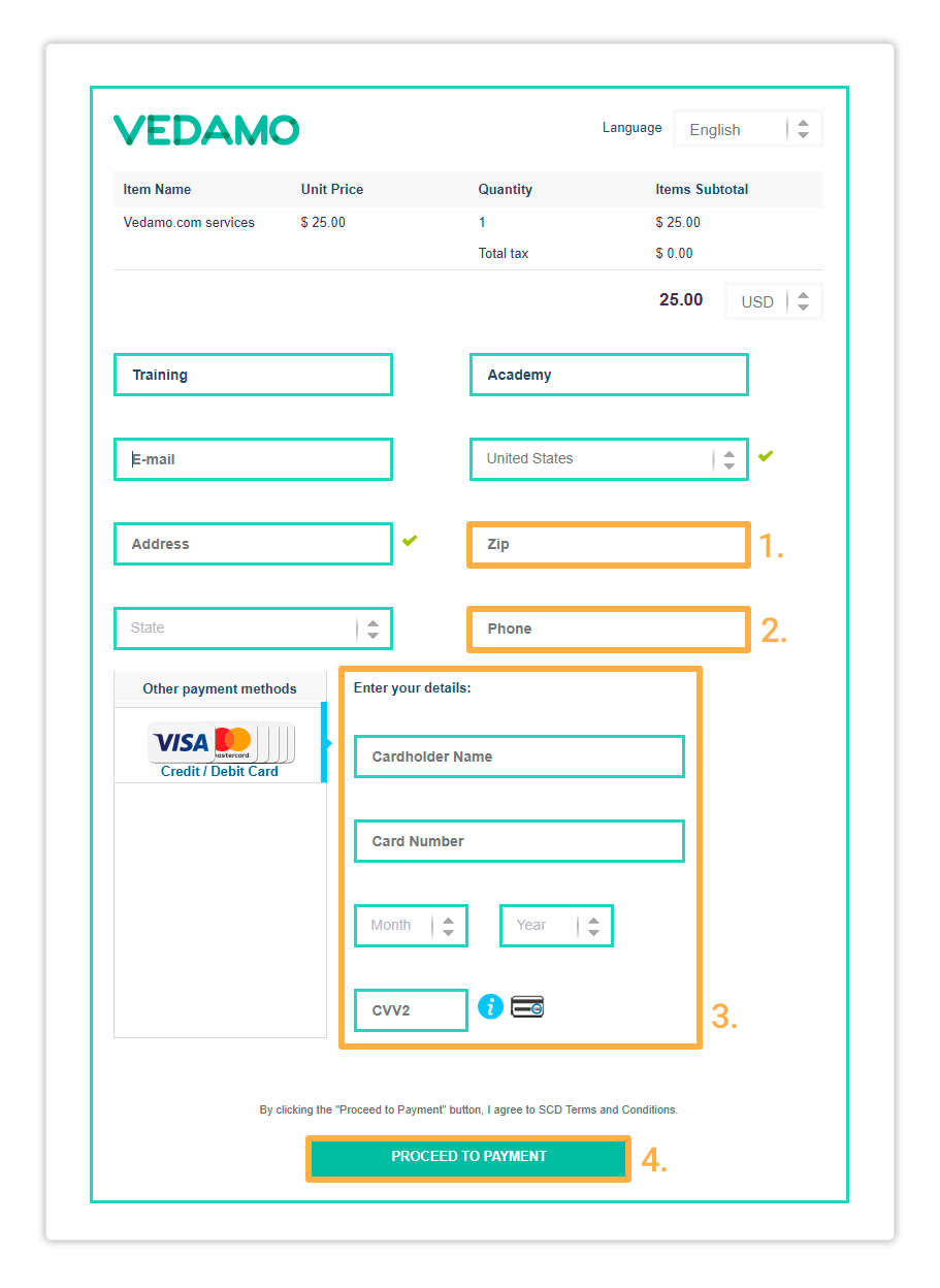 Fill in your card details and click Proceed to Payment