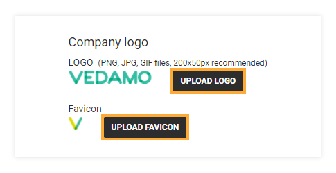 Account and Settings - General Information: You can upload your company's logo, favicon and company details in the organizational details window