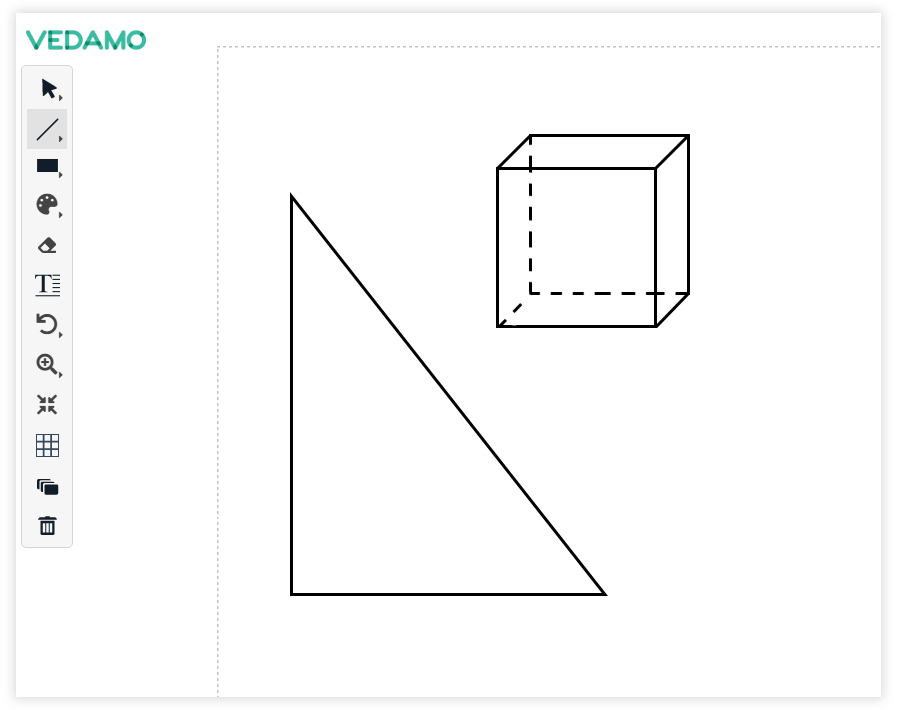 Virtual Classroom Online Whiteboard Tools: Use the line tool for creating geometric figures
