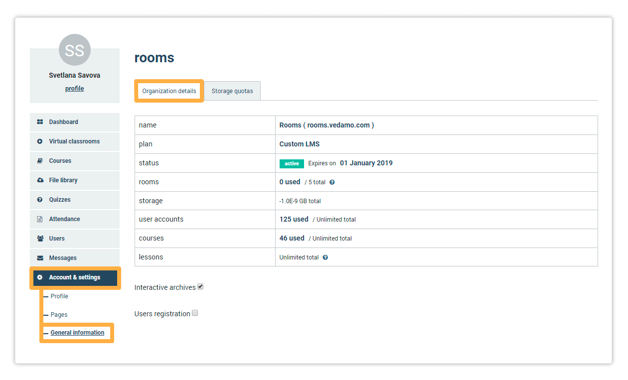Organisational details allows you to alter your LMS account and settings