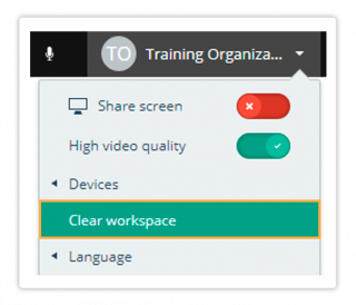 Clear workspace in the Virtual Classroom