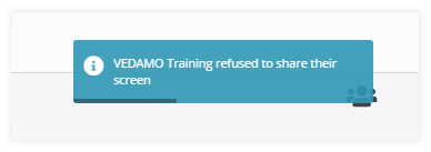 Notification when a participant refuses the screen share request from the host