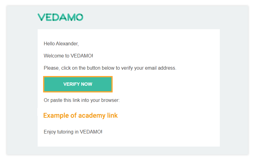 Click on Verify now to confirm your Vedamo account