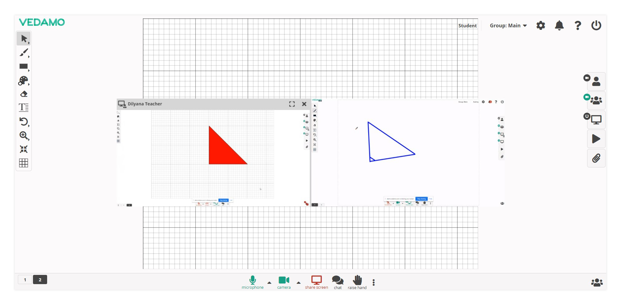 Virtual Classroom Functional Windows: Example of the Double Screen Share option