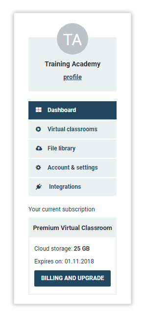 Click Virtual Classrooms to open the Virtual Classrooms menu