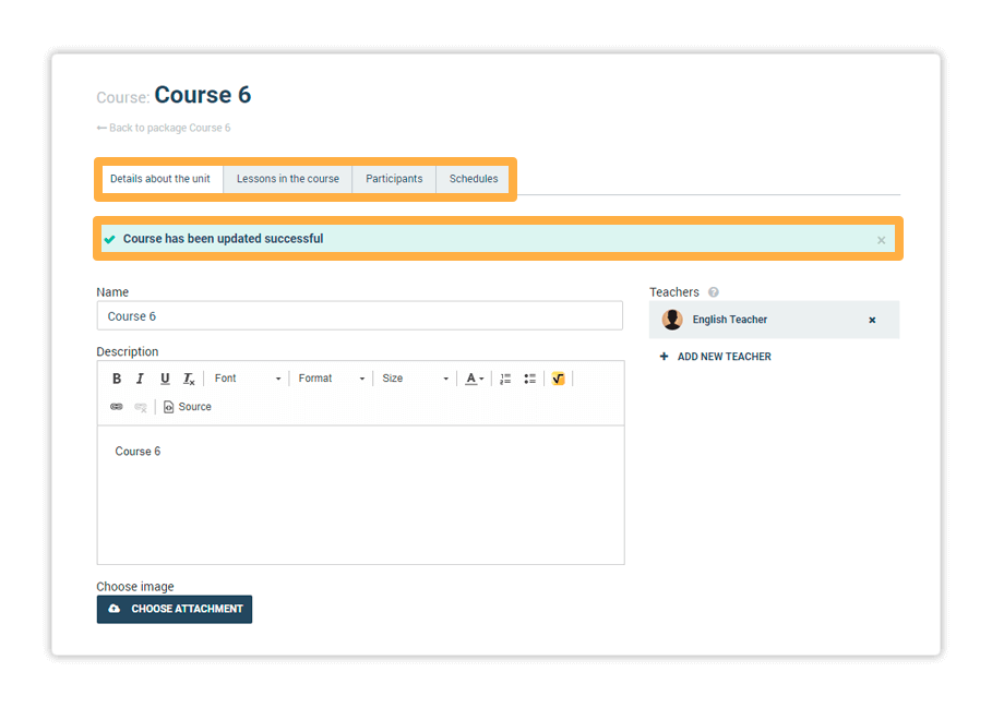 Once you've saved all the course's details, move on to the second tab Lessons in the course to continue editing your course