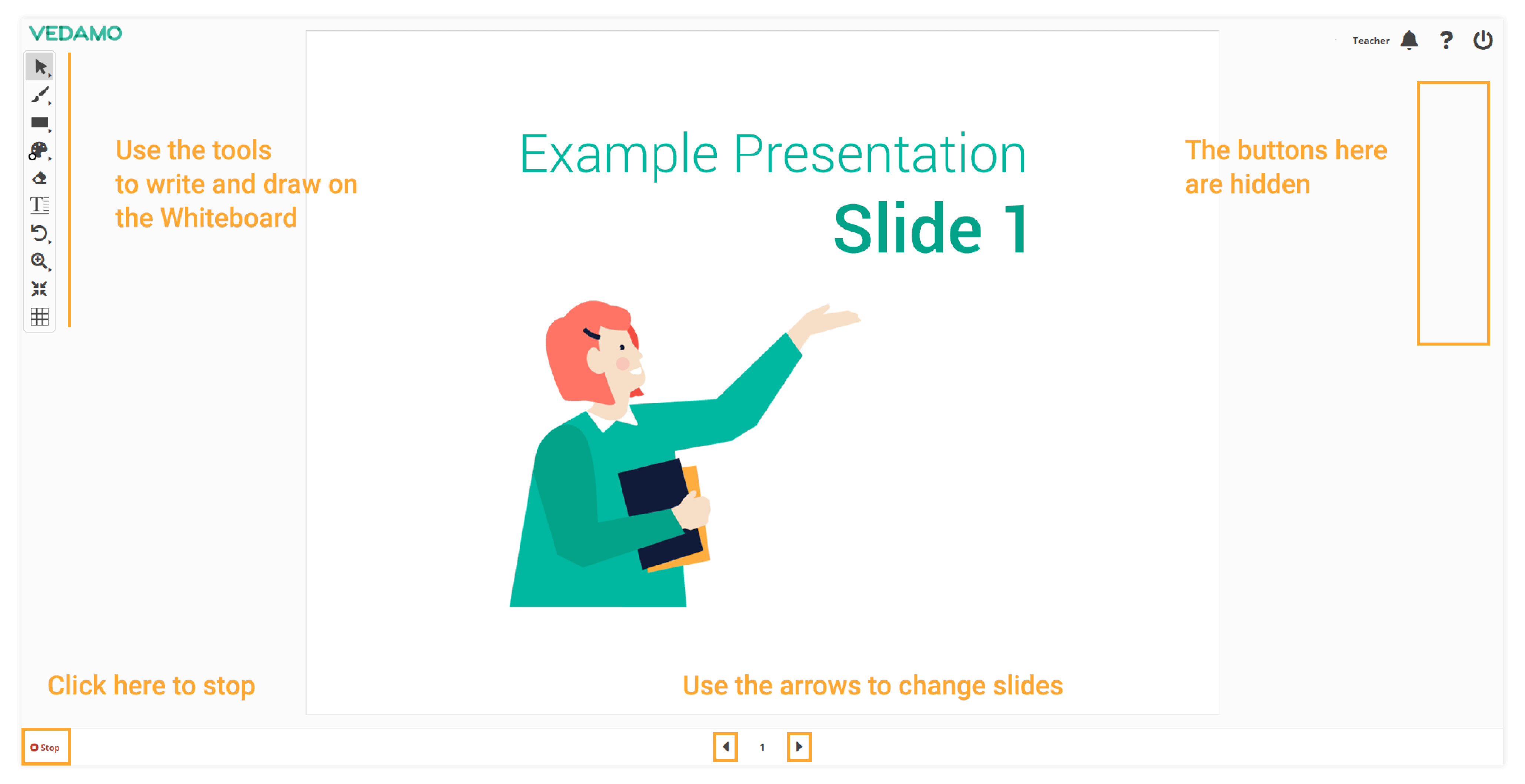 Presentation mode in the virtual classroom and how it looks