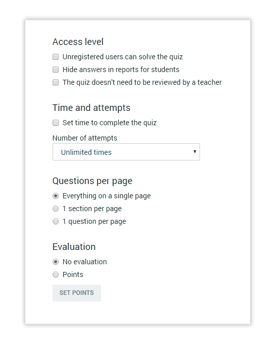 The Settings tab allows you to customize your Quiz according to your preferences