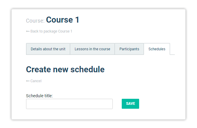 Create new LMS course schedule