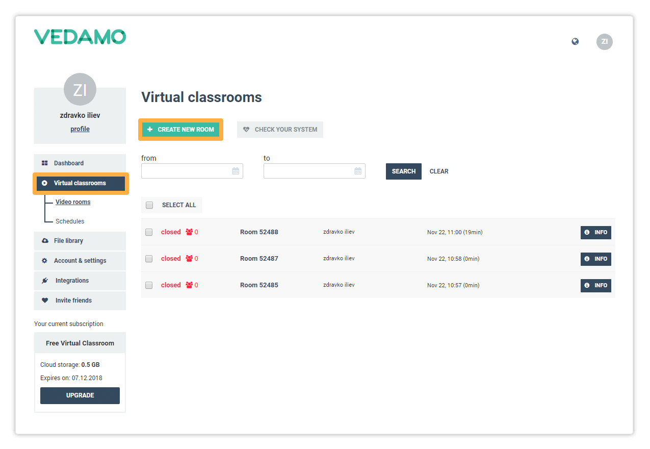 Create new room gives you the option to create a new Virtual Classroom