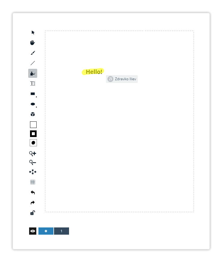 Use the Pointer tool in order to highlight an object in the whiteboard
