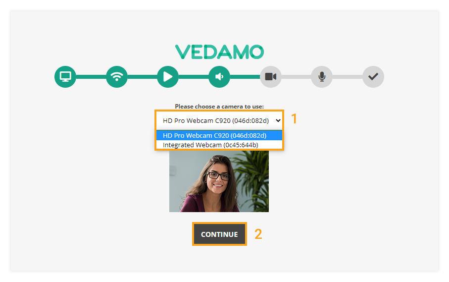 Virtual Classroom - System Check: Camera: camera selection option