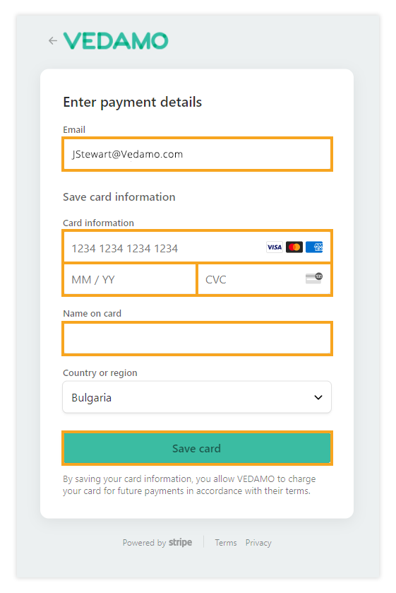 Upgrade to Premium: Enter your Credit/debit card information